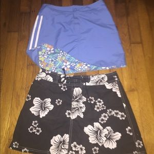 Reversible Blue floral and Black floral Minis